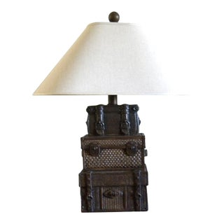 1980s Ceramic Trunk Table Lamp With Off-White Pagoda Shade For Sale