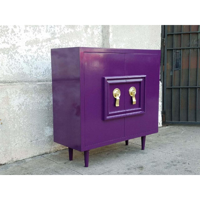 Hollywood Regency Deep Purple Vintage Lacquered Bar Cabinet - Image 7 of 8