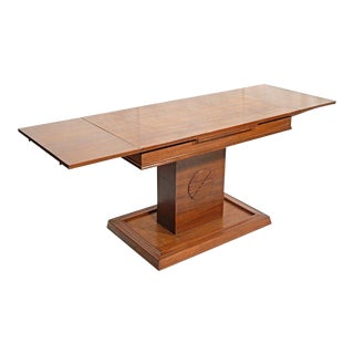 American Walnut Refractory Library Table For Sale
