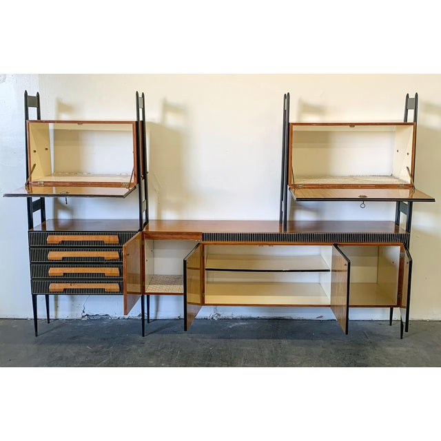 Tan Large Italian Modern Wall Unit, Italy, 1950's For Sale - Image 8 of 11