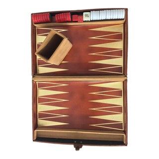Vintage Leather Backgammon Travel Set For Sale