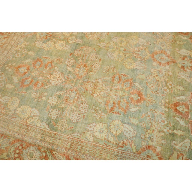 Light Green Pale Green Terracotta Antique Rug, 9'1'' X 12'7'' For Sale - Image 8 of 13