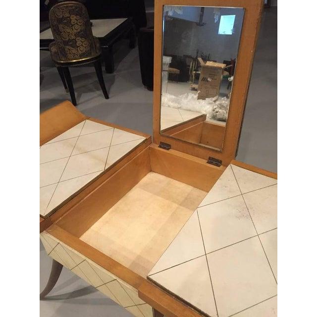 Jules Leleu French Art Deco Parchment Vanity - 2 Pieces For Sale - Image 9 of 10
