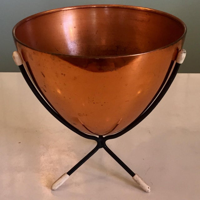 Mid-Century Modern Copper Bullet Planter For Sale - Image 9 of 9