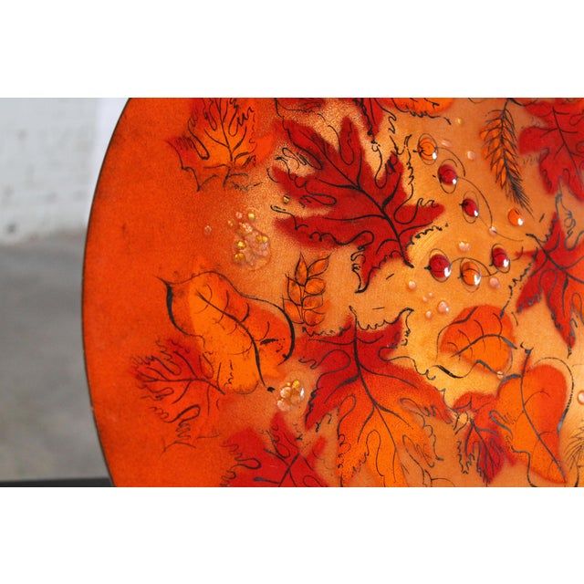 Sascha Brastoff Mid-Century Orange Leaves Enamel Charger - Image 9 of 11