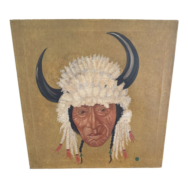 Native American Chief Oil on Canvas Painting For Sale