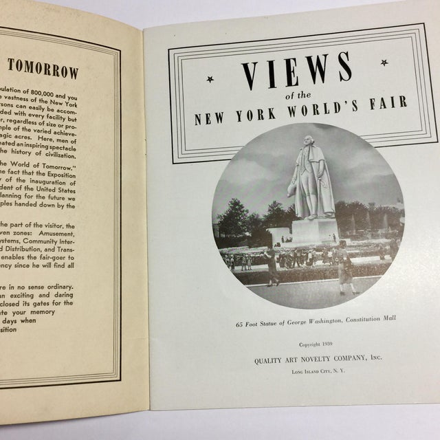 Long Island City, NY: Quality Art Novelty Company, copyright 1939. Views of the New York World's Fair. Softcover with...