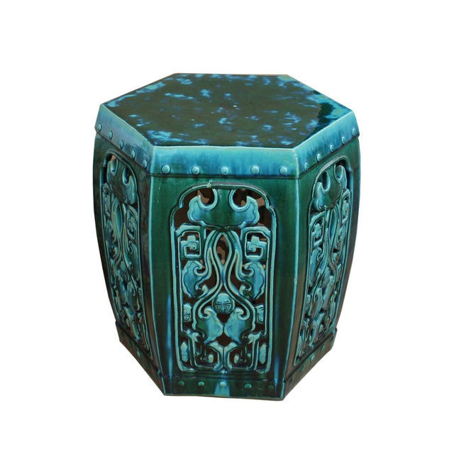 Ceramic Ceramic Clay Green Turquoise Glaze Hexagon Motif Garden Stool Table For Sale - Image 7 of 7