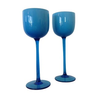 Turquoise Cased Wine Glasses - A Pair