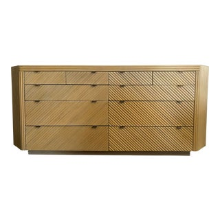 1970s Mid-Century Modern Split Bamboo Ten Drawer Chest