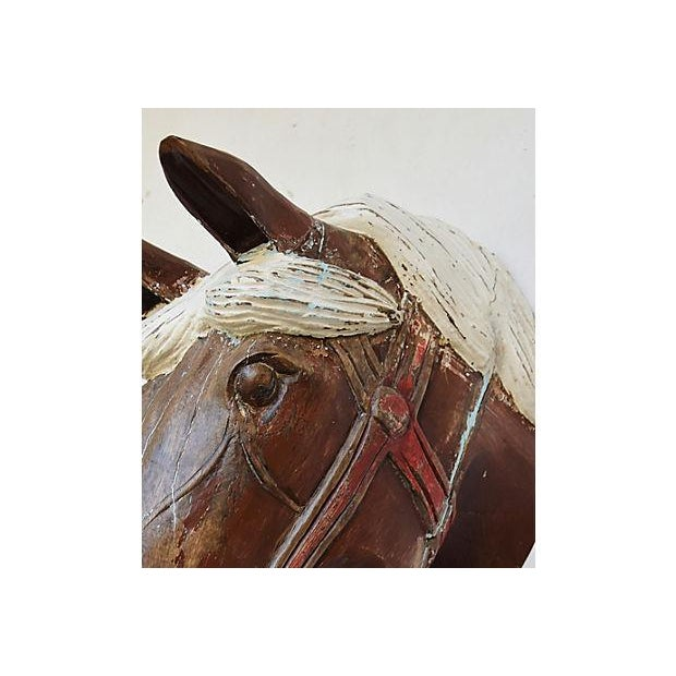 1940s Hand-Carved Carousel Horse Head - Wall Mounted - Image 10 of 11