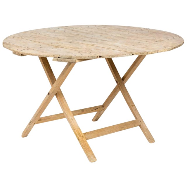 Late 19th Century French Country Folding Champagne Table in Oak For Sale