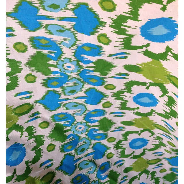 Ethnic Turquoise & Lime Floral Fabric - 4 Yards - Image 2 of 2