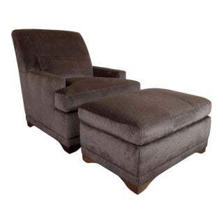Modernist Lounge Chair & Ottoman in Gauffraged Graphite Cashmere Mohair - a Pair For Sale