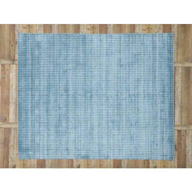 Blue Contemporary Beach Style Area Rug - 8′1″ × 9′10″ For Sale - Image 8 of 10