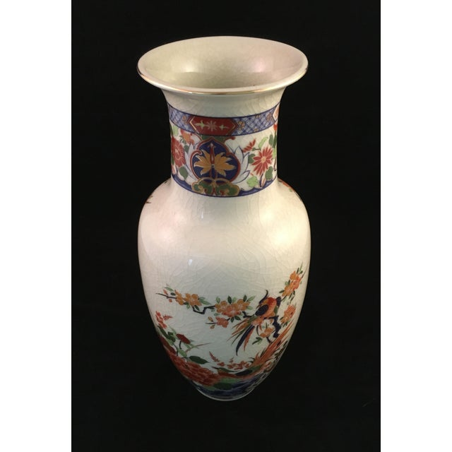 Late 20th Century Japanese Floral and Bird Crackle Glazed Vase For Sale - Image 5 of 13