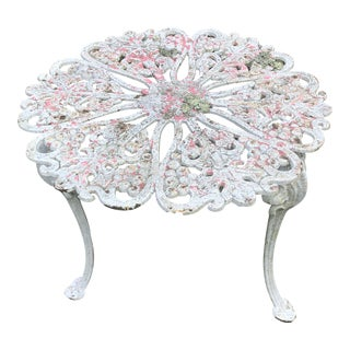 Antique Iron Garden Side Table For Sale