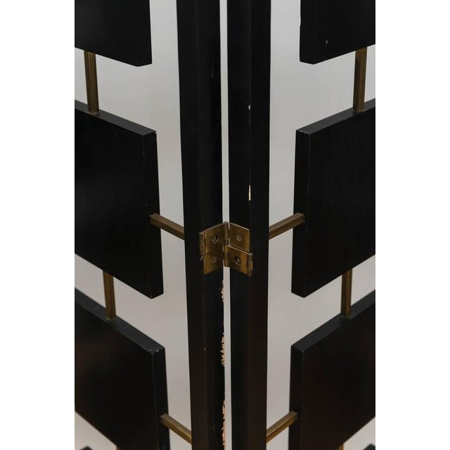 Brass & Black Lacquer Six-Panel Screen For Sale In San Francisco - Image 6 of 11
