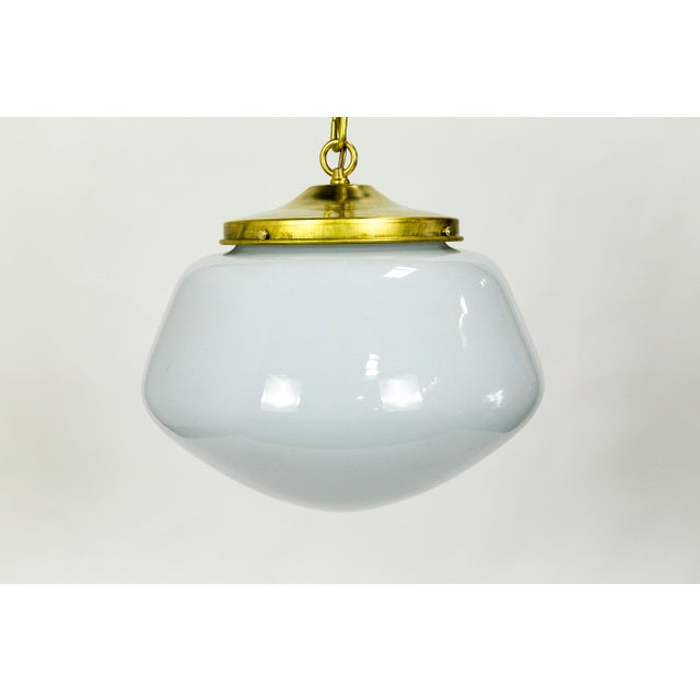 1970's Modern Schoolhouse Brass Pendant For Sale - Image 4 of 9