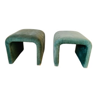 Sherrill Furniture Waterfall Ottomans- A Pair For Sale