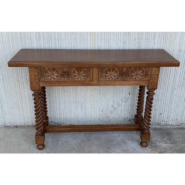 Baroque Spanish Baroque Carved Walnut Console Table With Two Drawers, Circa 1860 For Sale - Image 3 of 13