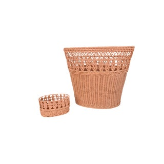Vintage Light Pink Woven Wicker Waste Basket and Small Oval Basket Matching Set