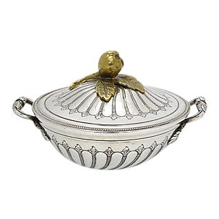 Antique French Silver-Plate & Gold Butter Tub