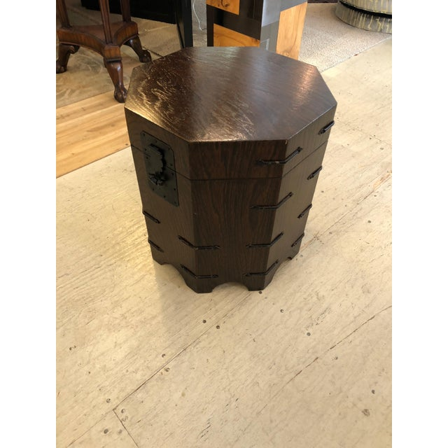 Iron 1950s Asian Dark Wood Octagonal Chest/End Table For Sale - Image 7 of 12