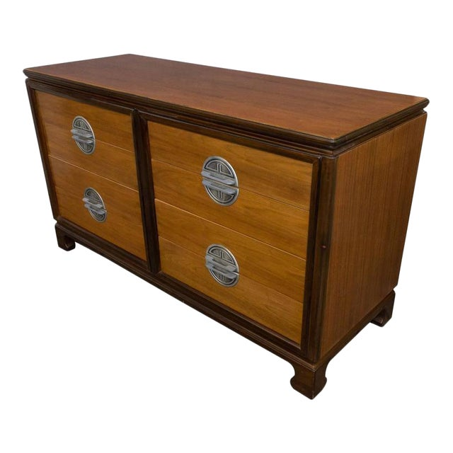 "American Midcentury ""Chinese-Modern"" Low Chest of Drawers For Sale"
