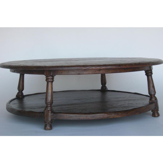 1920s Custom Round Walnut Wood Coffee Table With Shelf For Sale - Image 5 of 10