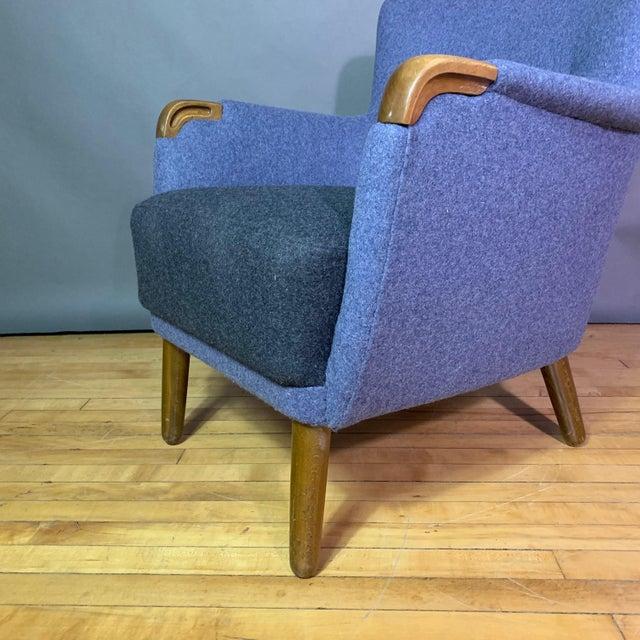 Teak 1950s Danish Armchair, New Kvadrat Felted Wool Upholstery For Sale - Image 7 of 11