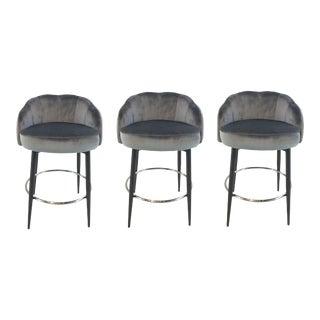 Interlude Home Modern Gray Velvet Counter Stools Set of Three For Sale