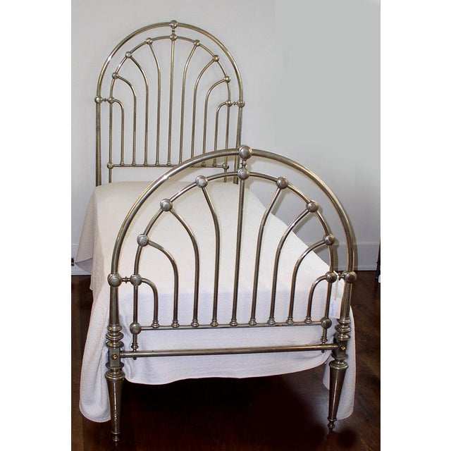 Art Deco Nickel Clad Twin Bed For Sale - Image 3 of 7