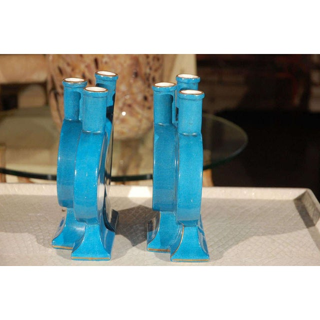 """Late 19th Century French Aesthetic """"Triple"""" Blue Pottery Vases - a Pair For Sale - Image 5 of 8"""