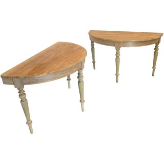 Traditional Pine Demilune Tables - a Pair For Sale