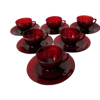 20th Century Ruby Red Glass Tea Cups and Saucers - 6 Sets For Sale