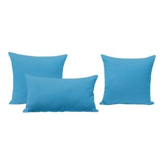 Capri Blue Outdoor Throw Pillows - Set of 3 For Sale