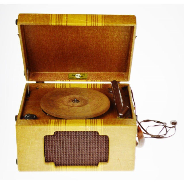 Vintage Andrea Gram 78 RPM Record Player Condition consistent with age and history. Some loss to canvas; leather handle...