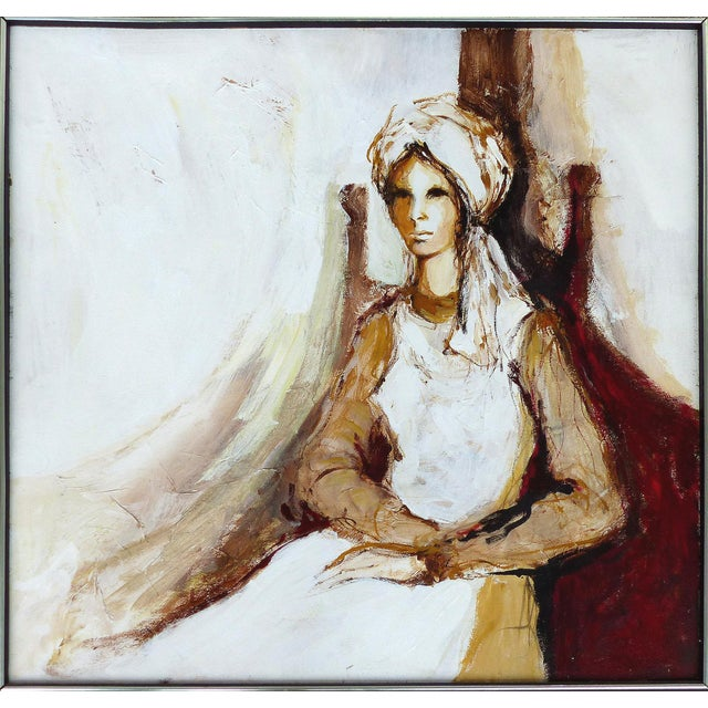 Oil on Panel Board of a Seated Woman With Headscarf, Unsigned C1965 For Sale - Image 11 of 11