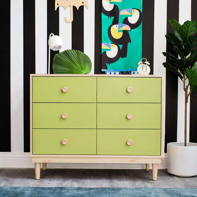 Contemporary Lukka Modern Kids 6-Drawer Dresser in Maple With Green Finish For Sale - Image 3 of 4