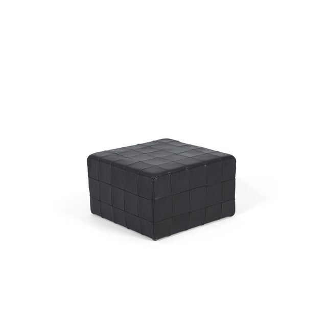 De Sede Black Leather Patchwork Cube Ottoman For Sale In Chicago - Image 6 of 6