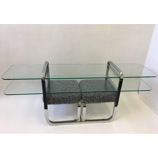 Chrome and Glass Console Table and Pair of Ottomans by DIA - Image 2 of 10