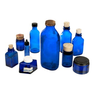 Vintage Cobalt Blue Glass Bottles - Set of 10