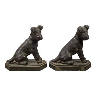 Art Deco Pot Metal Terrier Bookends C.1930 - a Pair For Sale