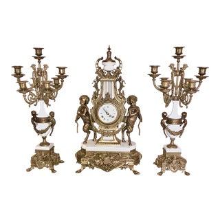 Imperial Brevattato Mantel Clock Candelabra Garnit - Set of 3 For Sale