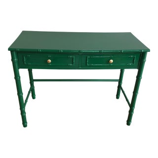 Vintage 1960s Kelly Green Faux Bamboo Lacquered Desk