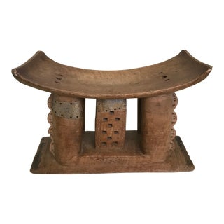 African Ashanti Stool in Hand Carved Wood, Early 20th Century For Sale