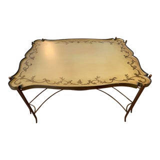 English Traditional Tray Top Coffee Table With Gilt Metal Base For Sale