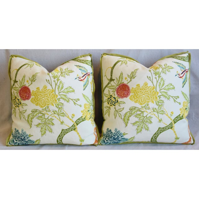 """Schumacher Arbre Chinois Meadow Chinoiserie Linen & Scalamandre Mohiar Pillows 21"""" Square - Pair For Sale In Los Angeles - Image 6 of 13"""