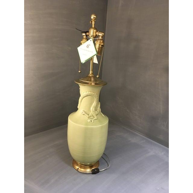 Christopher Spitzmiller Ming Dragon Motif Celadon Lamp - Image 4 of 10